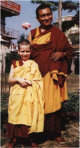 Lama Osel (L) and Lama Zopa (R) in Bodhgaya, 1991